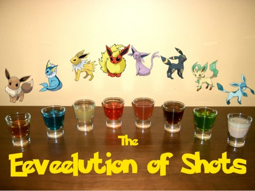 "The Eeveelution of Shots (Pokemon shot set)Ingredients:Eevee:1/4 simple syrup1 oz Bourbon whiskeydash Angostura bittersdash Orange bittersVaporeon:3/4 oz Blue Curacao3/4 oz VodkaJolteon:3/4 oz Limoncello3/4 citrus Vodka1/4 tsp sugar to dissolveFlareon:1 oz Fire Water (Hot Cinnamon Schnapps)1/2 oz Bacardi 151 1 pinch cinnamonEspeon:1 oz Hpnotiq1/2 oz Gin1/8 oz Grenadine Umbreon:1 oz. Kraken Black Spiced Rum1/2 oz Coconut rumLeafeon:1 oz. Midori1/2 oz. Light rum1/3 oz. GinGlaceon:3/4 oz Irish cream3/4 oz Ice 101 peppermint schnapps Directions: All of but two of the shots (Flareon and Glaceon) can be made simply by mixing the ingredients in a shot glass.  For Flareon, layer the Bacardi 151 on top and light on fire.  Sprinkle the pinch of cinnamon over the fire for a cool effect.  For Glaceon, layer the Ice 101 peppermint schnapps on top of the Irish cream.""Because its genetic makeup is irregular, it quickly changes its form due to a variety of causes."" -Pokedex entry for Eevee in Pokemon Black and WhiteDrink created and photographed by Eddie Strickland."