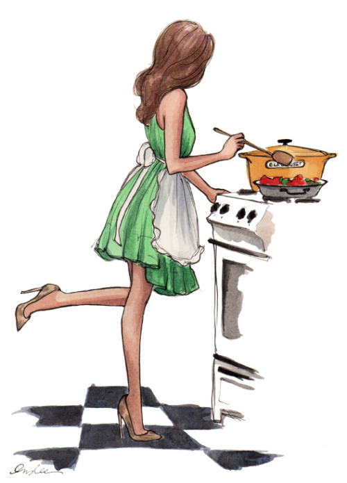 Totally me in the kitchen…orange Le Creuset pot and all!