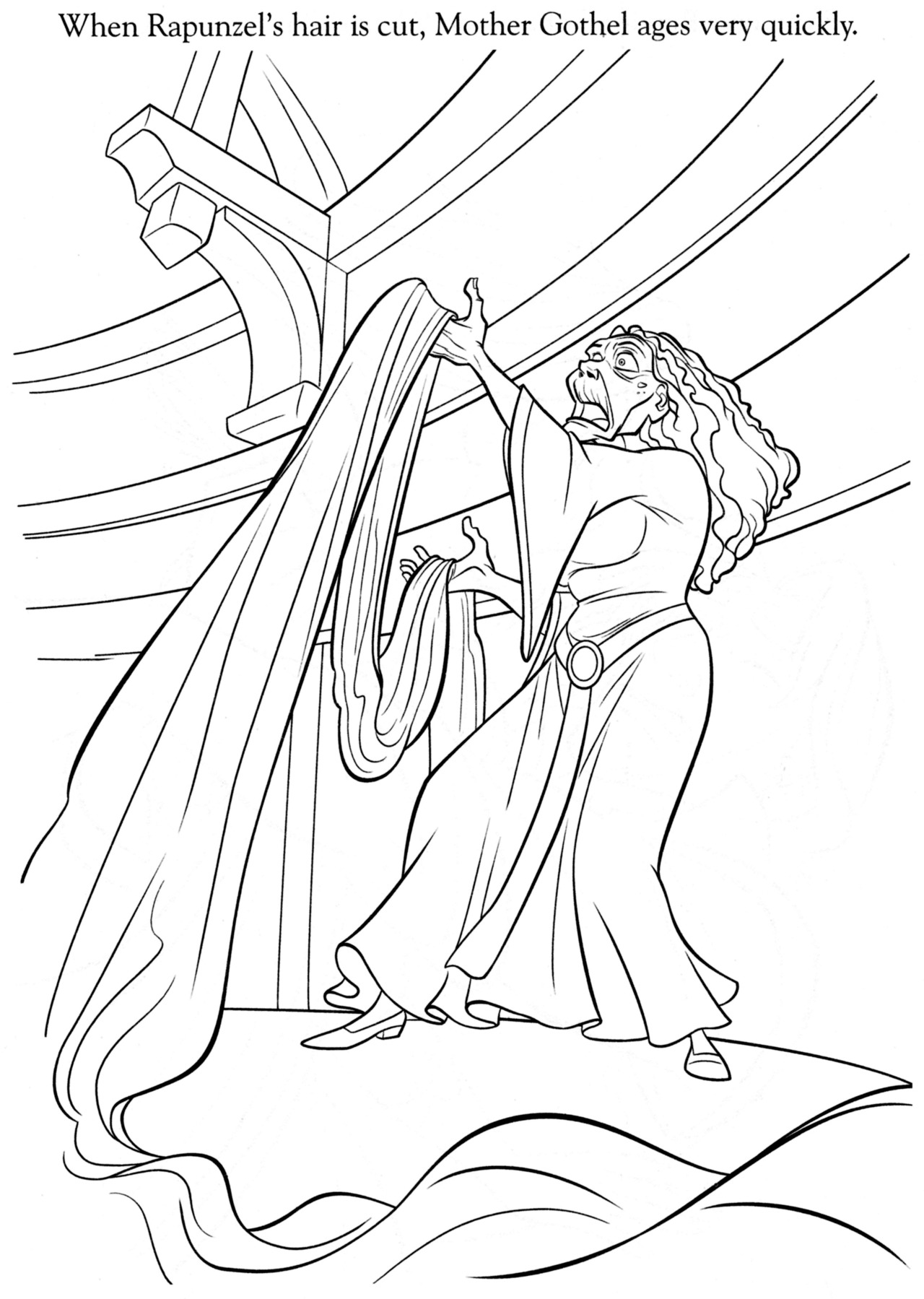The Art Of Tangled When Rapunzel S Hair Is Cut Mother Gothel Ages