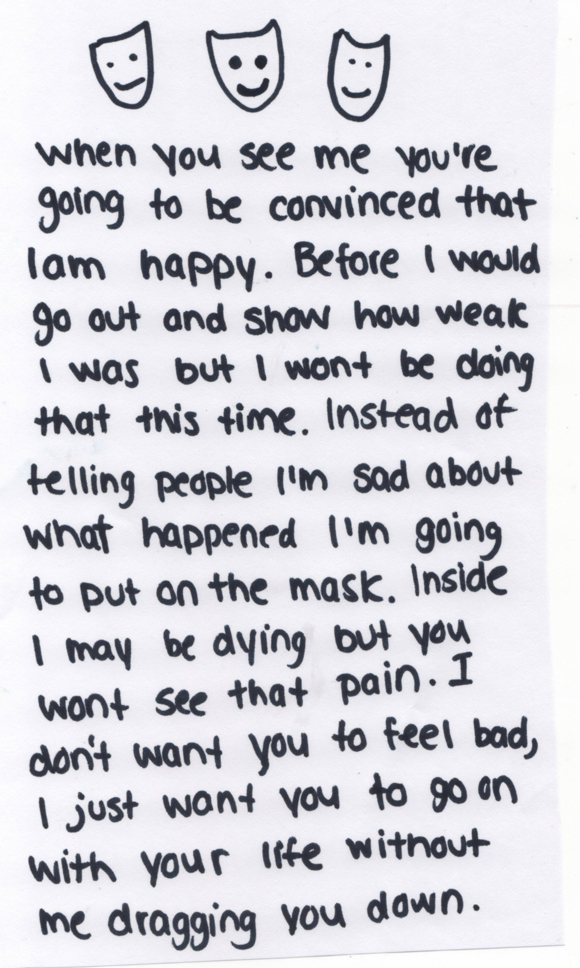 Sad Words Personal Writing Fine Masks Written