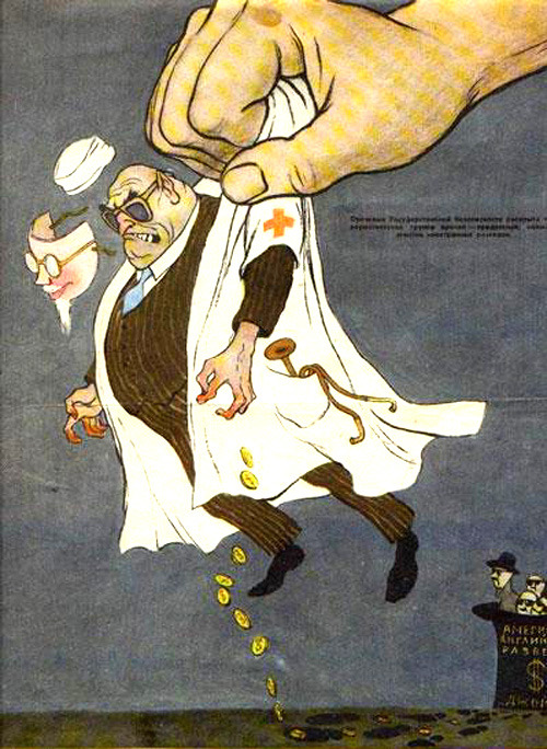 Stalin's doctors' plot (Krokodil cartoon, 1953)
