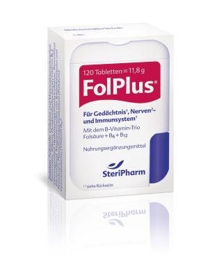 Die SteriPharm Pharmazeutische Produkte GmbH & Co. KG, gegründet 1981, ist ein mittelständisches Familienunternehmen mit Sitz in Berlin.Im Laufe der Jahre hat sie sich zum führenden Folsäurespezialisten entwickelt. Neben Folio®, dem Folsäure-Jod-Kombinationspräparat für Kinderwunsch, Schwangerschaft und Stillzeit, wurden weitere Folsäureprodukte für Menschen 50Plus hervorgebracht:Folio®forteFolio®jodfrei und FolPlus®.FolPlus® richtet sich in erster Linie an Menschen im mittleren und fortgeschrittenen Alter. Denn in dieser Lebensphase steigt der Homocystein-Blutspiegel in der Regel an. Eine gute Versorgung mit den B-Vitaminen Folsäure + B6 + B12, wie in FolPlus® enthalten, sorgt für die rasche Umwandlung des ungesunden Homocysteins in andere nützliche Aminosäuren. Der auf diese Weise regulierte Homocystein-Blutspiegel wirkt sich positiv auf die Konzentration und Gedächtnisleistung, die Blutgefäße und die Knochensubstanz aus.Die kleinen FolPlus®-Tabletten sind frei von Laktose, Fructose, Gluten, Farbstoffen und tierischen Bestandteilen. Sie sind in einem praktischen Klickspender abgefüllt und zeichnen sich durch ein besonders gutes Preis-Leistungs-Verhältnis aus.Die Folsäure-Produkte der SteriPharm haben eine Verbraucherempfehlung des Bundesverband Initiative 50Plus erhalten.