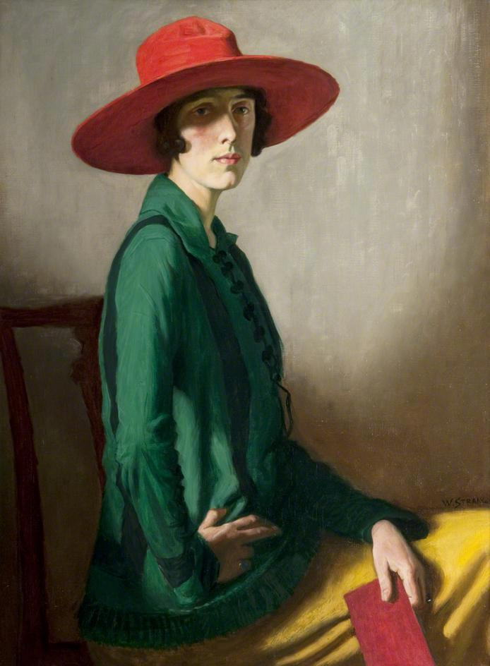 """William Strang, """"Lady with a Red Hat (Portrait of Vita Sackville-West),"""" 1918."""