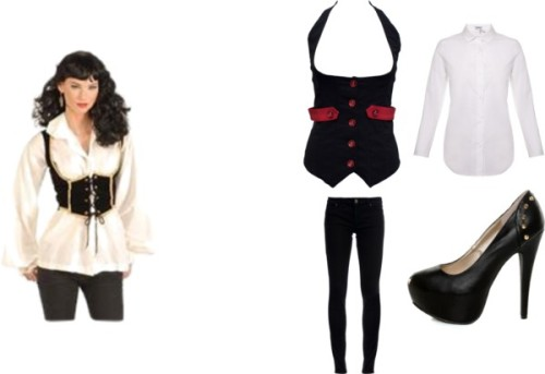 Pirate Inspired Outfit #1 by thehautebunny featuring club topsClub top, $30Carven, £175Superfine super skinny jeans, £139Qupid platform pumps, $37Adult Female Pirate Vest Pirate Costume Accessories, $17