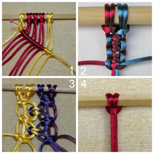 DIY Tutorial for Twelve Basic Macrame Knots for Necklaces, Bracelets, etc… Really clear instructions from Stonebrash Creative Arts here.<br /> Diagonal Double Half Hitch Knot<br /> Two Ways to Tie a Square Knot<br /> Alternating Square Knot<br /> Larks Head Knot (which is used in lots of jewelry tutorials I post)<br />