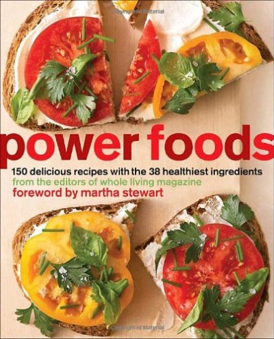 Power Foods: 150 Delicious Recipes with the 38 Healthiest Ingredients The Editors of Whole Living Magazine Many of our favorite ingredients—such as berries, tomatoes, and nuts—are among the healthiest foods on earth, and by simply incorporating more of them into our everyday meals, we can all lead healthier lives. Here are 150 fantastic ways to help you do just that. Organized into chapters on breakfast, snacks, sandwiches, soups, salads, main dishes, side dishes, and desserts, the recipes are accompanied by simple instructions and beautiful photographs to keep you inspired to eat well at any time of the day. Stay motivated with tempting recipes such as: * Breakfast: Pecan Pancakes with Mixed Berry Compote; Mushroom and Scallion Frittata * Starters and Snacks: Sweet Potato Hummus; Beet Chips * Sandwiches and Wraps:** Salmon Salad and Curried Egg on Multigrain Bread; Kiwifruit Summer Roll * Soups and Stews: Golden Pepper Soup; Chili with Chicken and Beans * Salads: Quinoa and Corn Salad with Pumpkin Seeds; Endive, Avocado, and Grapefruit Salad * Main Dishes: Citrus-Roasted Salmon with Spring Pea Sauce; Soba Noodle, Tofu, and Vegetable Stir-fry; Turkey Cutlets with Tomatoes and Capers * Side Dishes: Cauliflower and Barley Salad with Toasted Almonds; Edamame Succotash * Desserts: **Lemon Cream with Blackberries; Double Dark Chocolate and Ginger Biscotti Beyond these wonderful recipes, the editors of Whole Living magazine include research-backed information about the health benefits and disease-fighting properties of 38 power foods, along with nutritional data and helpful tips on storing, preparing, and cooking them. In this one-stop resource, you'll learn all about stocking a healthy pantry, eating seasonally, understanding food labels, and when it's best to splurge for organic ingredients. These 38 Power Foods are: ·          Asparagus ·          Artichokes ·          Avocados ·          Beets ·          Bell Peppers ·          Broccoli ·          Brussels Sprouts ·          Carrots ·          Kale ·          Mushrooms ·          Spinach ·          Sweet Potatoes ·          Swiss Chard ·          Tomatoes ·          Winter Squash ·          Apricots ·          Berries ·          Citrus ·          Kiwifruits ·          Papayas ·          Pears ·          Brown Rice ·          Oats ·          Quinoa ·          Dried Beans ·          Green Peas ·          Soybeans/Edamame ·          Almonds ·          Pecans ·          Pistachios ·          Walnuts ·          Flaxseed ·          Pumpkin Seeds ·          Eggs ·          Yogurt ·          Sablefish ·          Rainbow Trout ·          Wild Alaskan Salmon With 150 quick, flavor-packed recipes using the 38 healthiest foods nature has to offer, Power Foods makes eating well simple—and more delicious than ever before.