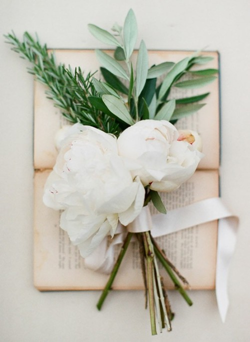 Peonies, olive branches, and rosemary
