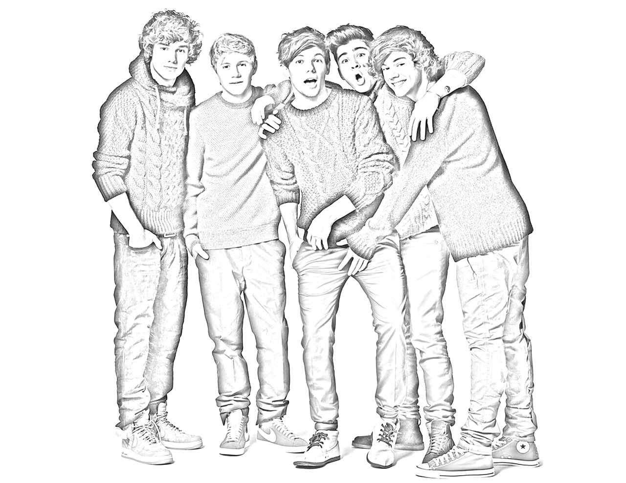 One Direction Cartoon Coloring Pages One Direction Colored