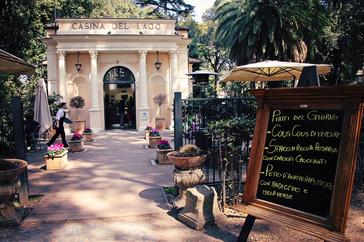 nice little lunch and drink cafe in the beautiful villa borghese park. rome, italy, 2012 (digital)