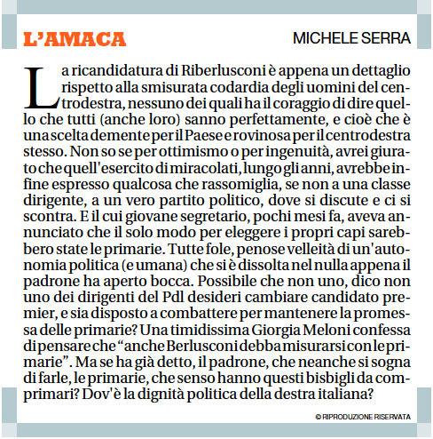 L'Amaca del 18 luglio 2012 di Michele Serra
