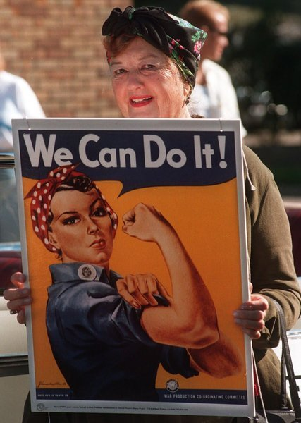 "Geraldine Hoff Doyle, was a 17 years (in 1942) while she was working at the American Broach & Machine Co. when a photographer snapped a pic of her on the job.That image used by J. Howard Miller for the ""We Can Do It!"" poster, released during World War II."