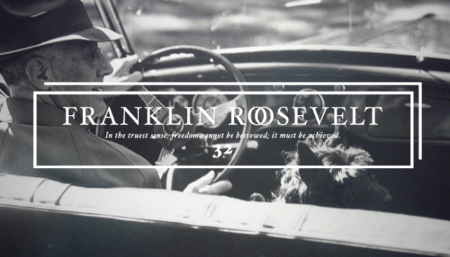 "Thirty-Second President: Franklin Roosevelt (1933-1945)<br /> This picture shows ""FDR and Fala, out for a ride"". </p> <p>Fala was a famous Scottish Terrier, the beloved dog of U.S. President Franklin D. Roosevelt. One of the most famous presidential pets, Fala captured the attention of the public in the United States and followed Roosevelt everywhere, becoming part of Roosevelt's public image. His White House antics were widely covered in the media and often referenced both by Roosevelt and his wife, Eleanor Roosevelt. Fala survived Roosevelt by seven years and was buried alongside him. A statue of him alongside Roosevelt is prominently featured in Washington, D.C.'s Franklin Delano Roosevelt Memorial, the only presidential pet so honored.<br />"