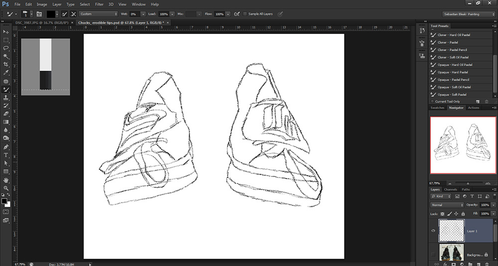 Outline sketch of chuck taylor allstars in photoshop cs6