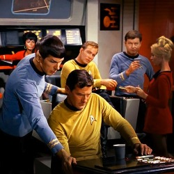 Spock: Ensign, you'll find that the Starbucks Caramel Macchiatto packs the most flavour and buzz for your Federation dollar. The Raktajino is simply inferior in this regard.<br /><br /><br /> Bones: What does that pointed ear Vulcan know about coffee brews anyway? Everybody knows that Everything Runs on Dunkin. Heck even the dilythium crystals run on Dunkin.<br /><br /><br /> Kirk: Yeoman, I won't have what everyone else is having. I'll stick with Maxwell House.<br /><br /><br /> Yeoman: Yes sir.<br /><br /><br /> Uhura: Coffee? Did someone say coffee? Can a sista get a cup of coffee over here? (under her breath) Sulu would have hooked me up with some coffee…