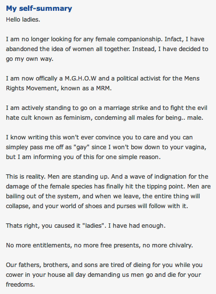 A letter written on an OKCupid profile to all women