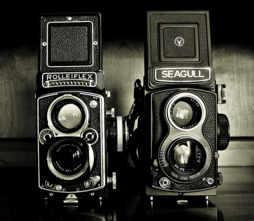japancamerahunter:</p> <p>My two TLRs… one made like a jewel… one not so much. by Genuine Draft1 on Flickr.<br />