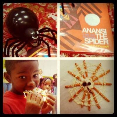 anansi the spider activity, spider pretzels, halloween snacks