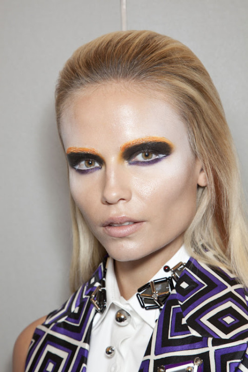 Natasha Poly backstage at Prada, Fall 2012.