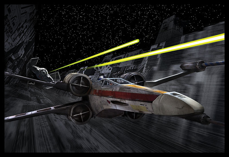 x-wing in the Death Star trench