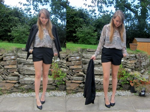 Blazer - Topshop, Shorts and Blouse - ASOS