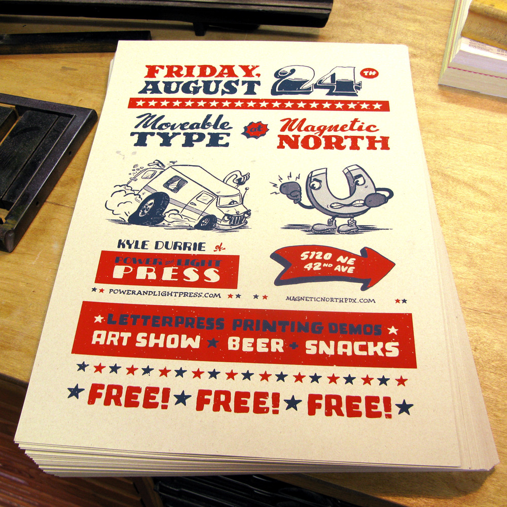 Moveable Type at Magnetic North: 5120 NE 42nd Ave - Letterpress Printing Demos: Art Show: Beer: Snacks