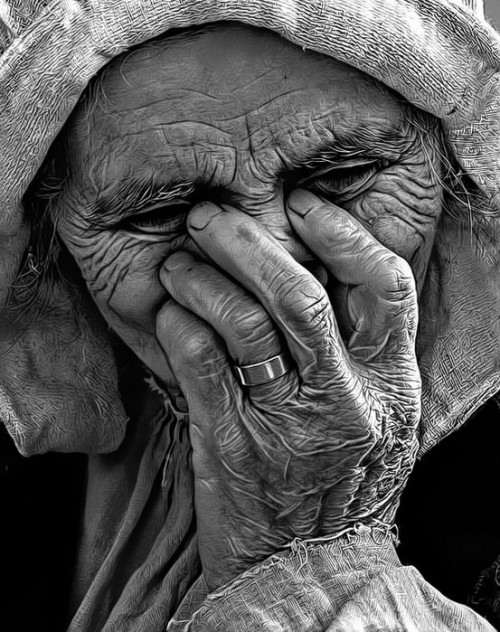 Anguish, Old Woman, Black and White, Photograph, Photo, life