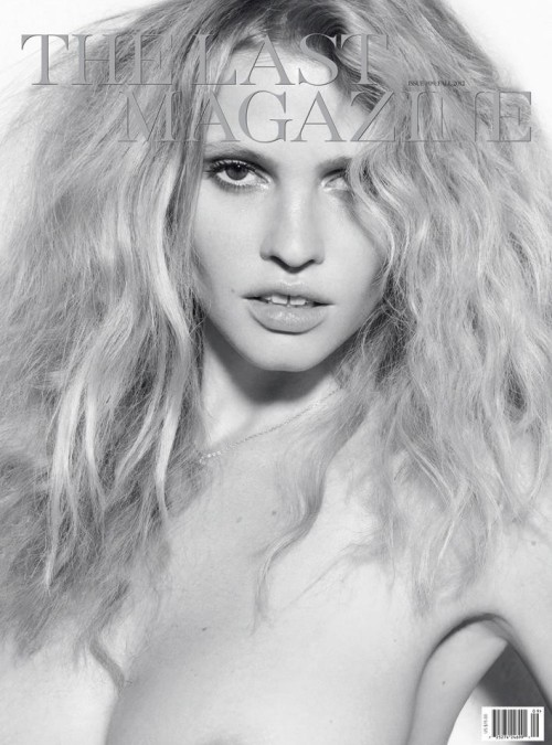 Dutch super model Lara Stone wears nothing but a delicate necklace and sultry hair for the cover of The Last Magazine, photographed by Mikael Jansson and styled by Alastair McKimm.