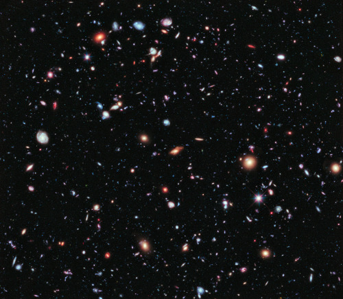 NASA snaps a picture of 5500 galaxies at once Using Hubble, NASA snagged this picture of 5500 galaxies, using a range of light wavelengths. The camera is 10 billion times more sensitive than the human eye, producing the deepest look into our universe yet. I suddenly feel so… small. Via