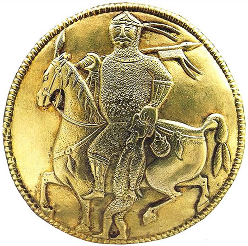 Depiction of a mounted warrior with captive on a gold ewer (pitcher) from the Treasure of Nagyszentmiklós. The horseman would represent a warrior of one of the steppe khanates of the 7th to 10th centuries (Avars, Khazars, Magyars, Bulgars, etc.)Part of theTreasure of Nagyszentmiklós.