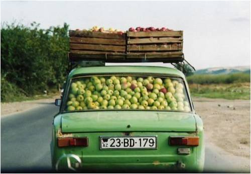 apple filled car