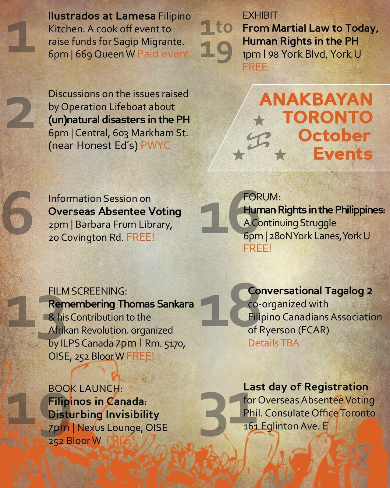 ANAKBAYAN-TORONTO events in October 2012!Some FB event pages for the next couple weeks:Oct 3, 630p:  Operation Lifeboat: Linking Canada and The Philippines via (Un)Natural DisastersOct 2-19:  Free Public Exhibition @ York University: From Martial Law to Today, Human Rights in the PhilippinesOct 16, 6p:  Human Rights in the Philippines: A Continuing Struggle