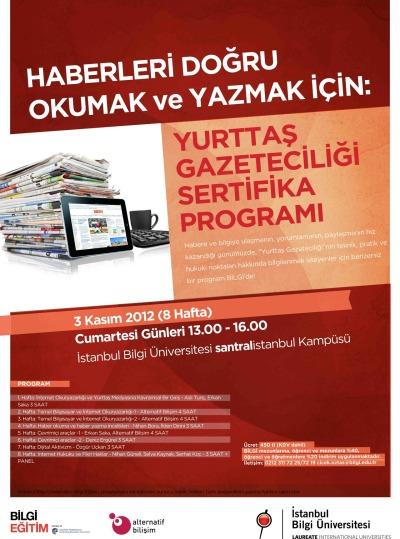Yurttaş Gazeteciliği Sertifika Programı yeni dönemini, yeni eğitmenleri ve yenilenmiş programıyla 3 Kasım 2012 tarihinde açıyor.<br /> Kayıtlar 15 Ekim&#8217;de başlıyor!