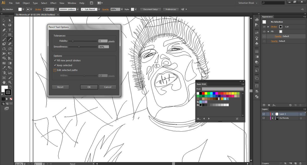 Adobe Illustrator CS6 Pencil Tool Illustration