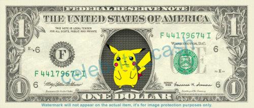 ピカチュウの1ドル札