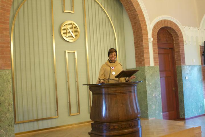 at podium