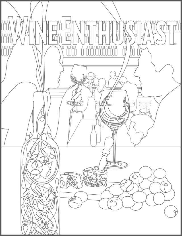 """Adult Coloring Book, """"Color Inside the Wines""""  Wine Enthusiast"""
