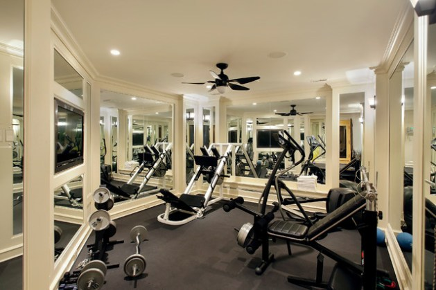 Gym Flooring   Home Gym Flooring   ArmorPoxy supraflex rubber gym flooring tiles used in home gym with white walls and  mirrors
