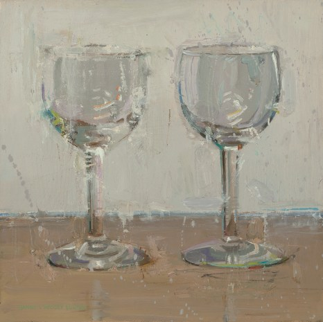 """""""Waiting for Wine"""" - 8"""" x 8"""" Oil by Dianne Massey Dunbar"""