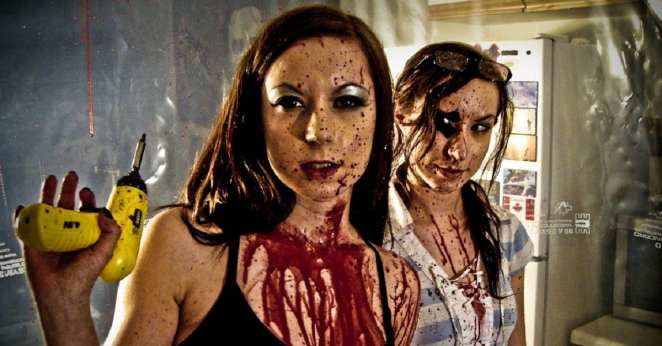 Jen and Sylvia Soska as the Badass and the Geek in Dead Hooker in a Trunk (2009).