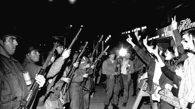 Protestors and the U.S. National Guard clash violently at the 1968 DNC in Chicago.