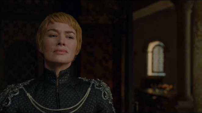 Cersei Lannister (Lena Headey) watches from the Red Keep as all her enemies fall prey to her trap adn perish.