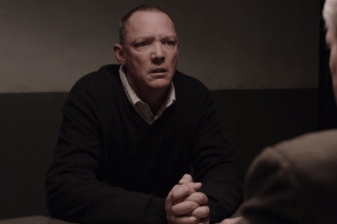 Bill Hastings played by Matthew Lillard in a Buckhorn police station arrested and being questioned