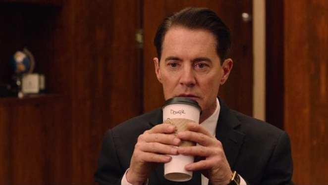 Dougie cooper drinks coffee