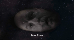 Major Briggs disembodied head floats across a starry sky with the words Blue Rose on the screen