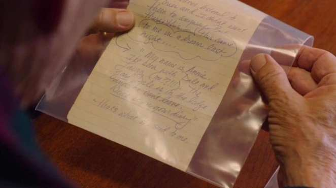 A page from Laura Palmers diary in a clear plastic bag as evidence