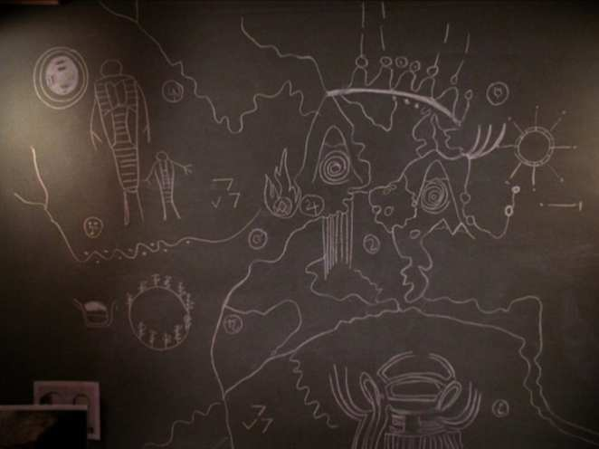 The owl cave map chalk drawing