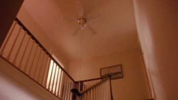 Palmer house staircase and fan