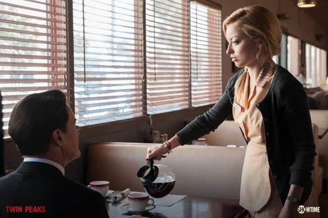 Agent Cooper at an Odessa Diner called Judy's with a Waitress called Kristi who pours him coffee