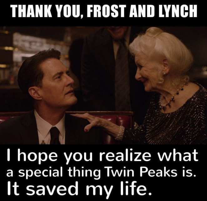 Dougie Cooper and Lady Jackpots with message from Gisela saying thanks to Lynch and Frost for Twin Peaks