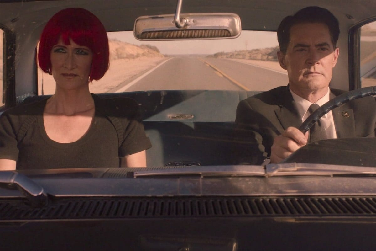 Cooper and Diane driving Twin Peaks